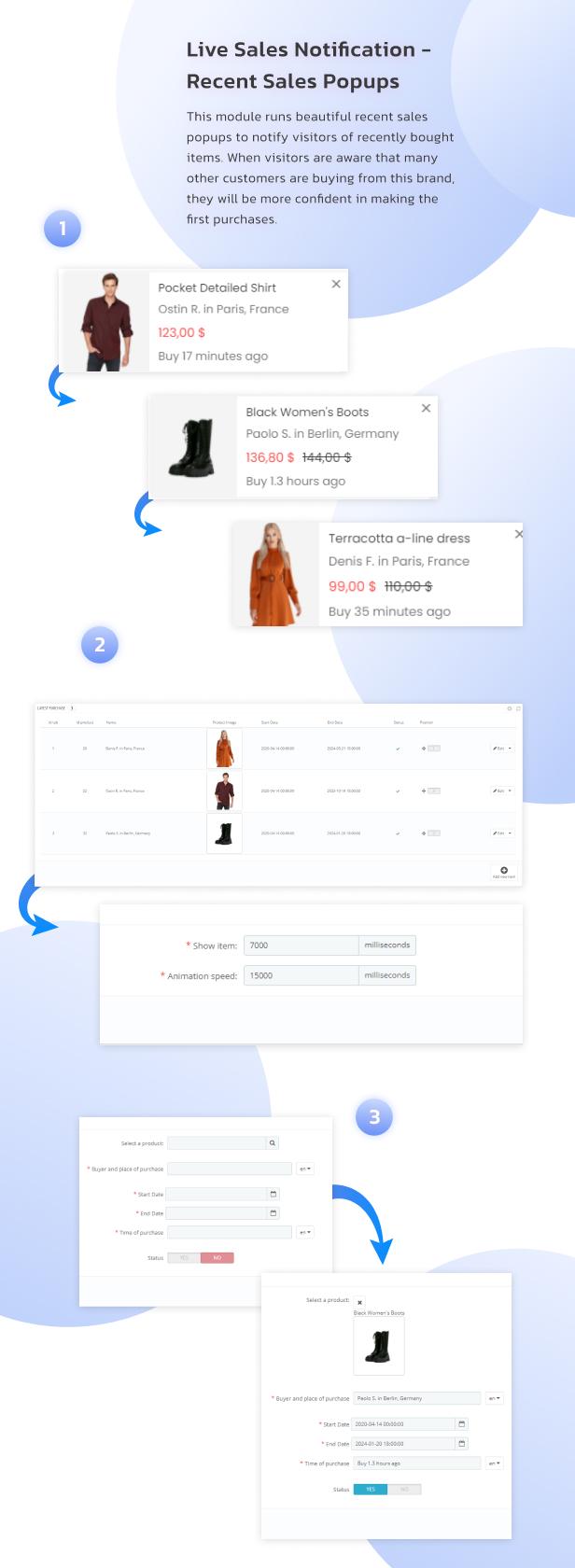 Prestashop Live Sales Notification. Recent Order Popups