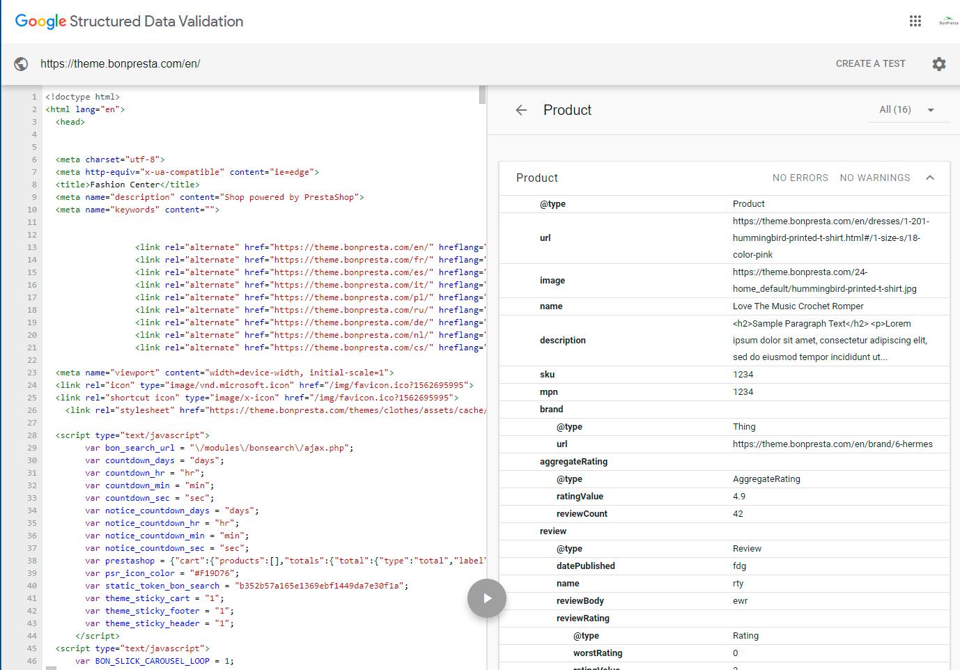 SEO Schema Markup Structured Data Rich Snippet Prestashop Theme 1.7